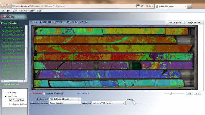 From within IntelliCore™ you can create MultiSOM color images depicting key mineralogy for the entile drill core box